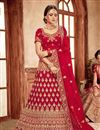 image of Art Silk Fabric Sangeet Wear Lehenga With Embroidery Work In Red Color