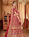 image of Embroidery Work On Wedding Wear Bridal Lehenga In Red Color Art Silk Fabric With Blouse