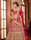 image of Embroidery Work On Art Silk Fabric Designer Lehenga In Red Color With Blouse
