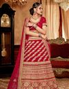 image of Art Silk Fabric Wedding Wear 3 Piece Lehenga In Red Color With Embroidery Work