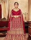 image of Art Silk Fabric Red Color Wedding Wear 3 Piece Lehenga Choli With Embroidery Work