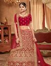photo of Red Color Designer Bridal Lehenga With Embroidery Work On Art Silk Fabric