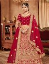 image of Red Color Designer Bridal Lehenga With Embroidery Work On Art Silk Fabric