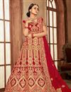 image of Embroidery Work On Velvet Fabric Designer Lehenga In Red With Blouse