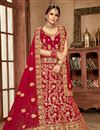 image of Red Embroidered Bridal Wear Fancy Lehenga In Velvet Fabric
