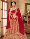 photo of Red Color Velvet Fabric Bridal Wear Lehenga Choli With Embroidery Work