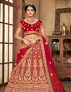 image of Red Color Velvet Fabric Bridal Wear Lehenga Choli With Embroidery Work
