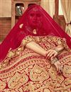 photo of Velvet Fabric Red Color Wedding Wear 3 Piece Lehenga Choli With Embroidery Work