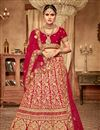 image of Velvet Fabric Red Color Wedding Wear 3 Piece Lehenga Choli With Embroidery Work
