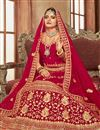 photo of Red Velvet Fabric Bridal Wear Embellished Designer Lehenga