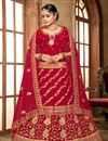 image of Embroidered Wedding Wear Lehenga Choli In Red Color Velvet Fabric