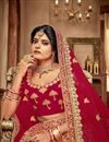 photo of Embroidered Red Bridal Lehenga In Velvet Fabric With Designer Choli