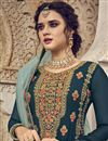 photo of Designer Function Wear Teal Color Georgette Fabric Embroidered Palazzo Dress