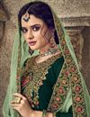 photo of Function Wear Georgette Fabric Designer Dark Green Color Embroidered Palazzo Dress