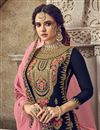 photo of Navy Blue Color Function Wear Designer Embroidered Palazzo Suit In Georgette Fabric