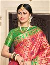 photo of Art Silk Fabric Designer Weaving Work Saree In Rani With Alluring Blouse