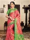 image of Art Silk Fabric Designer Weaving Work Saree In Rani With Alluring Blouse