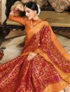 photo of Weaving Work On Art Silk Fabric Red Party Wear Saree With Enticing Blouse