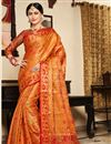 image of Art Silk Fabric Orange Festive Wear Saree With Weaving Work And Attractive Blouse