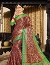 image of Occasion Wear Art Silk Fabric Weaving Work Saree In Burgundy With And Designer Blouse
