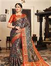 image of Art Silk Fabric Navy Blue Festive Wear Saree With Weaving Work And Attractive Blouse