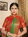 photo of Dark Green Art Silk Fabric Designer Saree With Weaving Work And Gorgeous Blouse