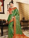 image of Dark Green Art Silk Fabric Designer Saree With Weaving Work And Gorgeous Blouse