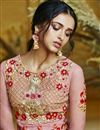 photo of Function Wear Net Embroidered Floor Length Readymade Anarkali Dress In Pink
