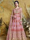 image of Function Wear Net Embroidered Floor Length Readymade Anarkali Dress In Pink