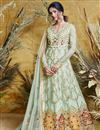 image of Net Sea Green Function Wear Embroidered Floor Length Readymade Anarkali Suit