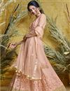 image of Function Wear Embroidered Floor Length Readymade Anarkali Dress In Peach Net Fabric