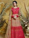 image of Function Wear Net Embroidered Beige Floor Length Readymade Anarkali Suit