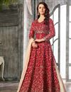 image of Festive Special Function Wear Embroidered Satin Fabric Sharara Top Lehenga In Maroon