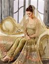 photo of Wedding Special Net Designer Embroidered Beige Sharara Top Lehenga
