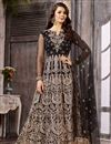 image of Wedding Wear Fancy Embellished Black Long Anarkali Dress In Net