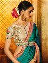 photo of Function Wear Teal Embroidered Saree In Art Silk Fabric