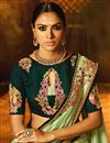 photo of Embroidery Designs On Sea Green Art Silk Party Wear Saree