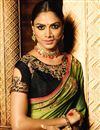 photo of Embroidery Work On Mehendi Green Function Wear Art Silk Saree