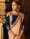 photo of Embroidery Work On Chikoo Color Function Wear Art Silk Saree