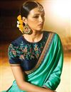 photo of Embroidery On Cyan Party Wear Saree In Art Silk Fabric