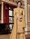 image of Function Wear Georgette Fabric Designer Embroidered Peach Sharara Suit