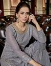 photo of Fancy Georgette Fabric Designer Grey Embroidered Function Wear Sharara Dress