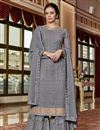 image of Fancy Georgette Fabric Designer Grey Embroidered Function Wear Sharara Dress