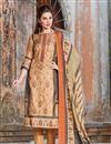 image of Chikoo Satin Fabric Festive Wear Straight Cut Suit With Embroidery Work