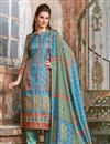 image of Occasion Wear Sky Blue Embroidered Straight Cut Salwar Kameez In Satin Fabric