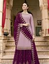 image of Eid Special Fancy Sangeet Wear Georgette Lavender Embroidered Palazzo Suit