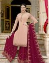 image of Fancy Peach Sangeet Wear Embroidered Georgette Palazzo Suit
