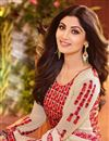 photo of Shilpa Shetty Cream Color Designer Party Wear Georgette Fabric Salwar Kameez