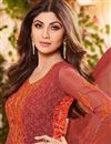 photo of Shilpa Shetty Red Color Designer Georgette Fabric Salwar Suit