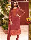 image of Shilpa Shetty Red Color Designer Georgette Fabric Salwar Suit